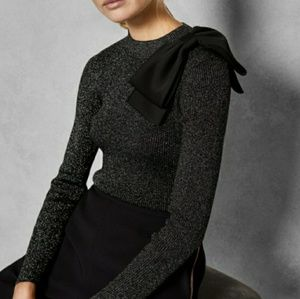 NWT Ted Baker Black Sparkle Bow Shoulder Sweater 0